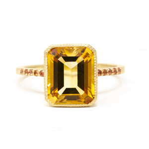 Citrine Pave Cocktail Ring