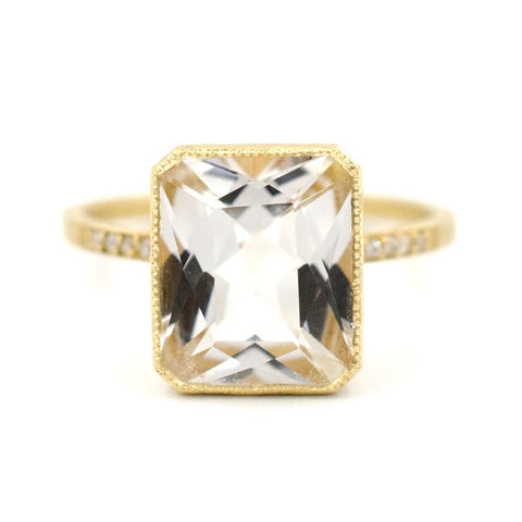 Blockette White Topaz Pave Cocktail Ring