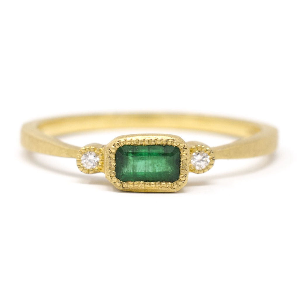 Blockette Emerald Diamond Ring