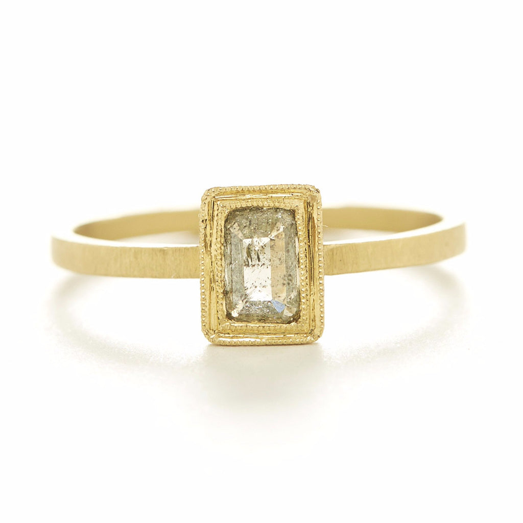 Blockette Opaque Diamond Ring