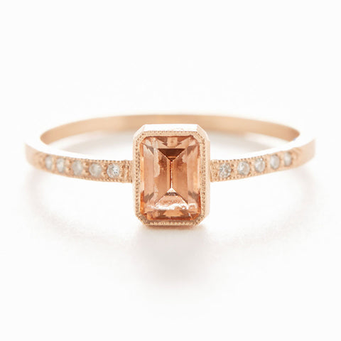 Blockette Zircon Diamond Ring
