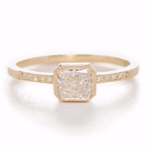Blockette Cushion White Diamond Ring