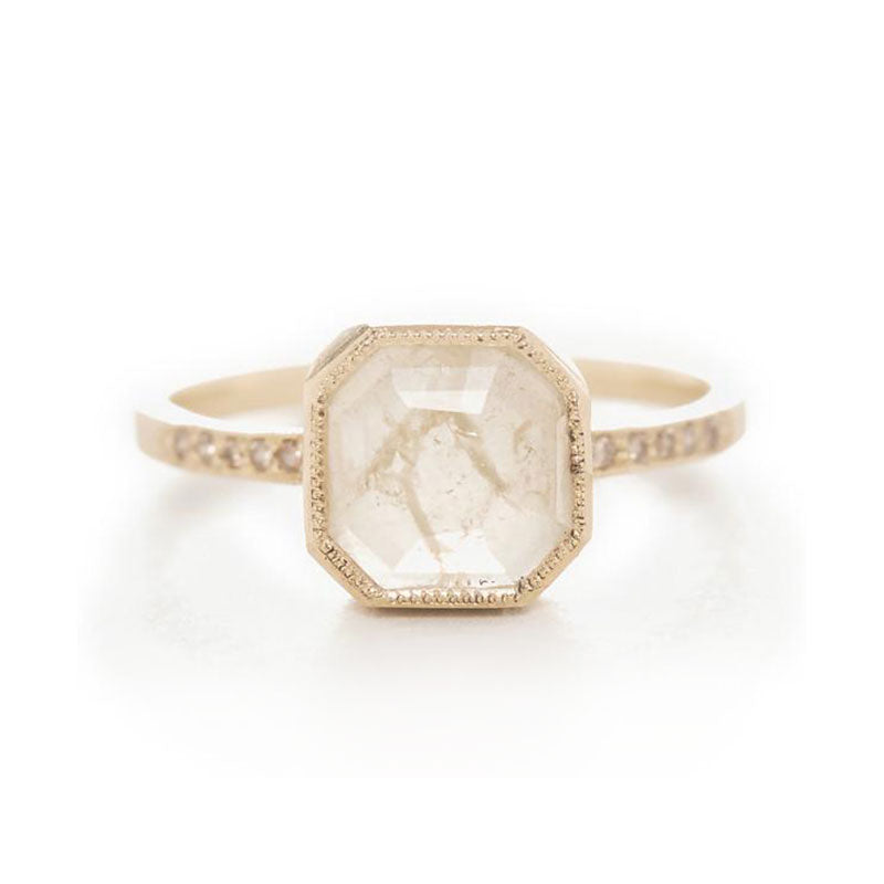 Blockette Opaque Diamond Top Light Brown Ring
