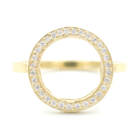 Blockette Round Open Halo Ring