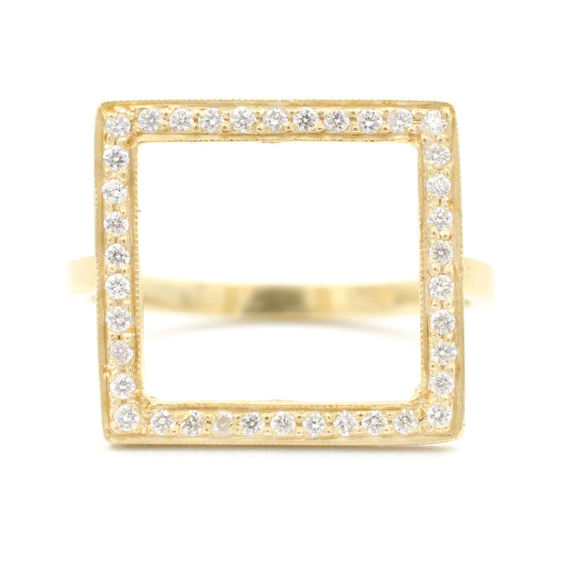 Blockette Square Open Halo Ring