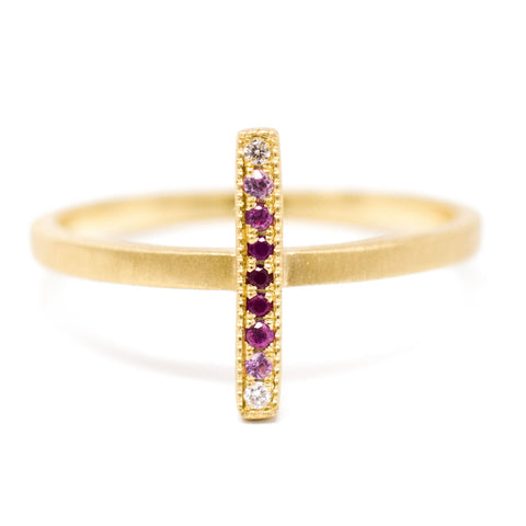 Blockette Ruby Ombre Line Ring