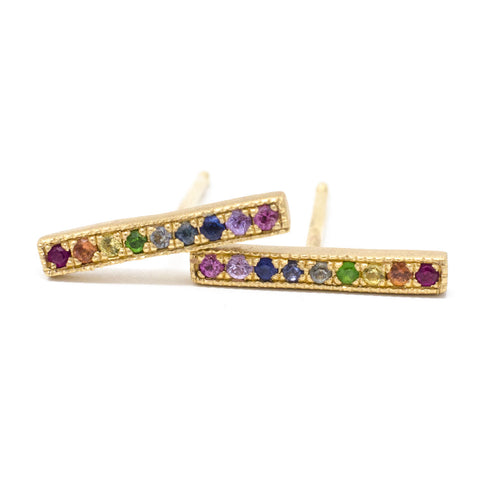 Blockette Rainbow Line Stud Earrings