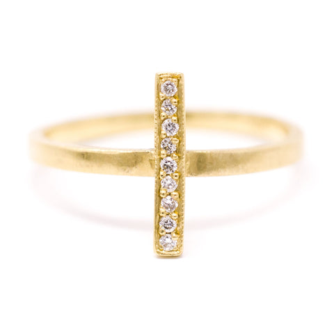 Blockette Diamond Line Ring