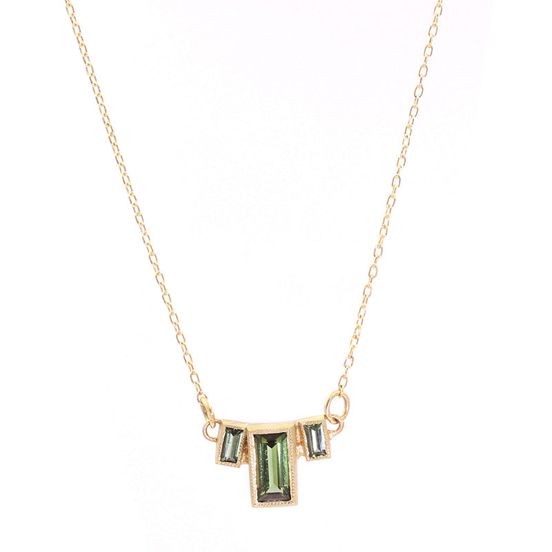 Blockette Baguette Green Tourmaline Necklace
