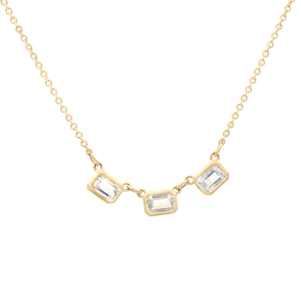 Blockette Emerald Cut Moonstone Necklace