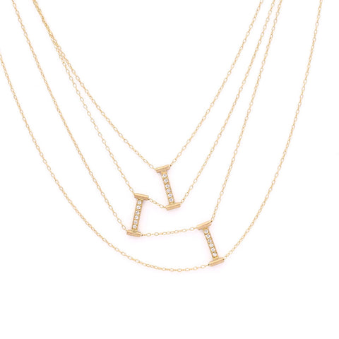 Blockette Line Diamond Draping Necklace
