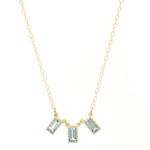 Trinity Emerald Cut Blue Topaz Necklace