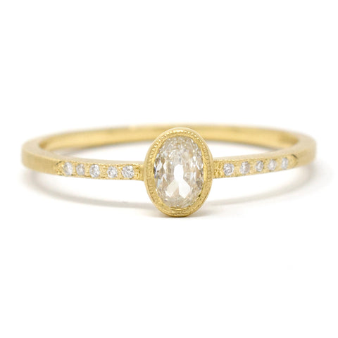 Blockette Dainty Oval Diamond Pave Ring