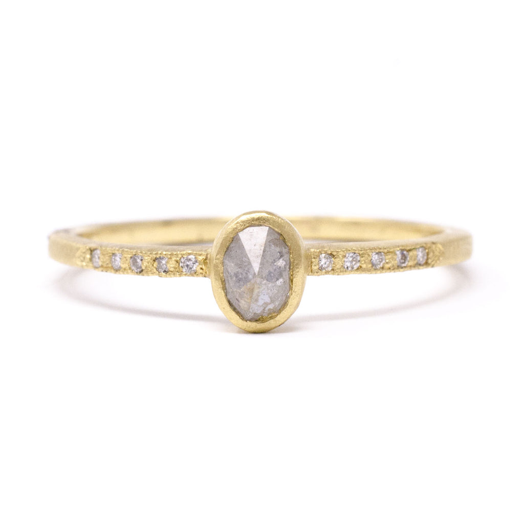 Blockette Dainty Oval Opaque Diamond Pave Ring