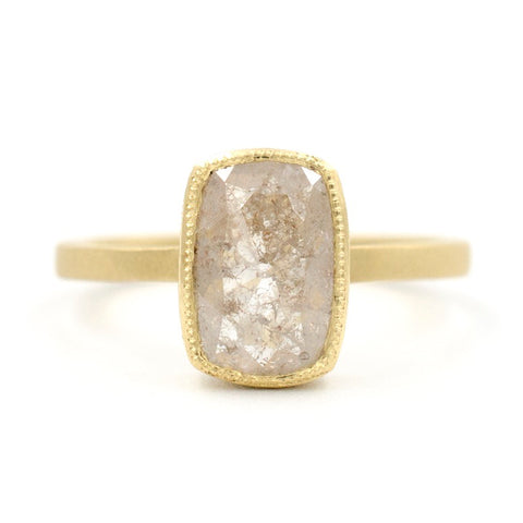 Blockette Cushion Opaque Diamond Ring