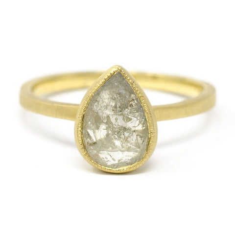 Blockette Pear Grey Opaque Diamond Ring