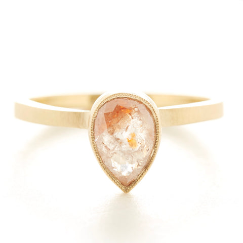Blockette Pear Opaque Diamond Ring