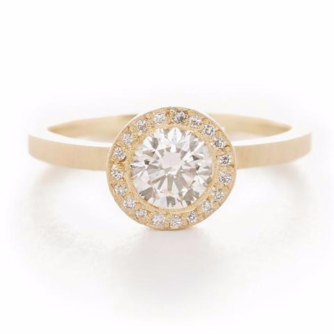 Blockette Round Diamond Halo Ring