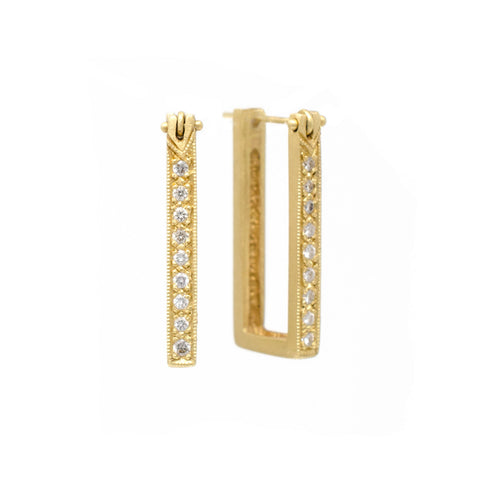 Blockette Diamond Hoop Earrings