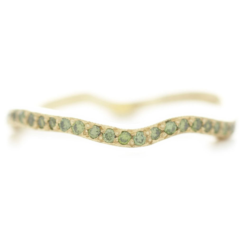 California Canyon Green Diamond Pave Band