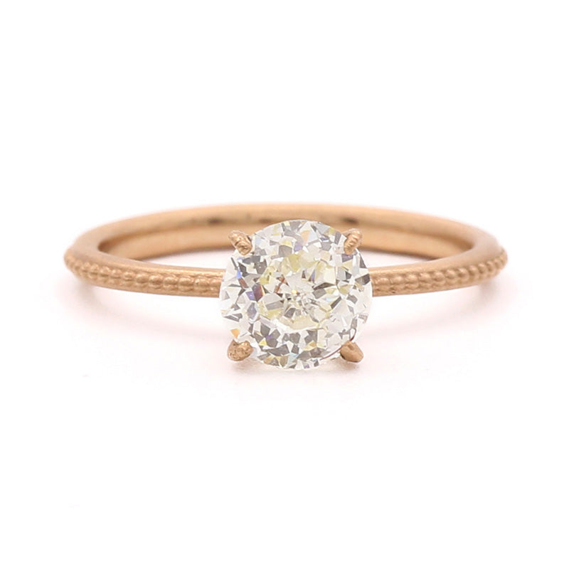 Mountings Clover Beaded Solitaire Ring