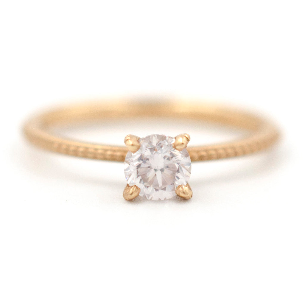 Clover Beaded Solitaire Ring