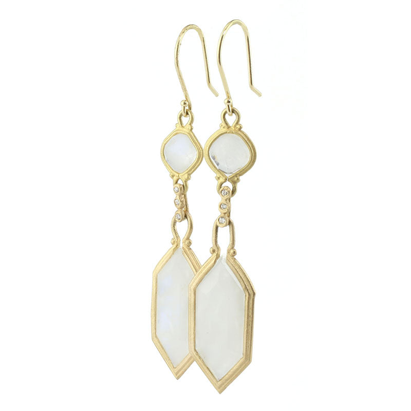 Clover Moonstone Hexagon Drop Earrings