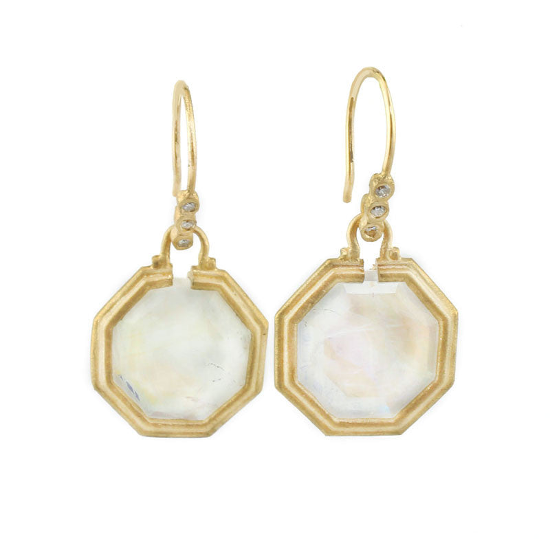 Clover Octagon Moonstone Earrings