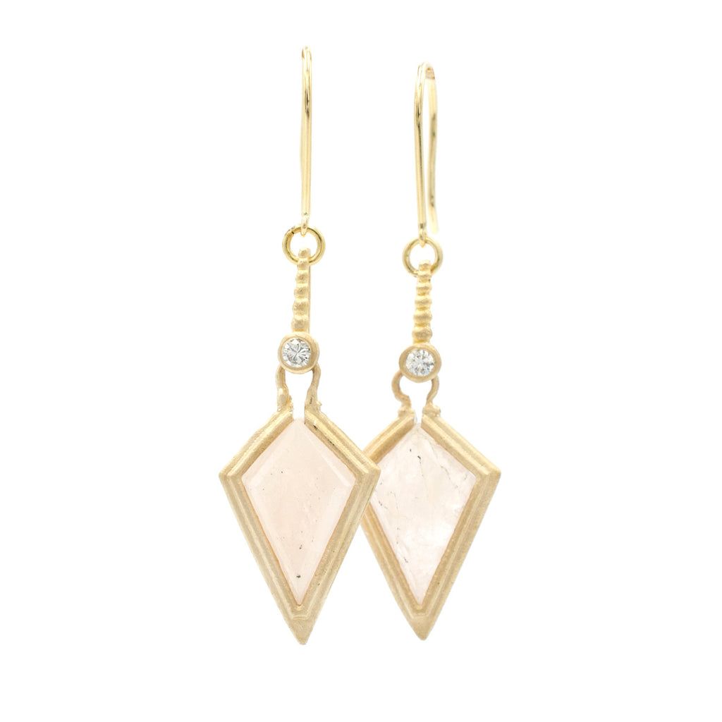 Clover Morganite Kite Drop Earrings