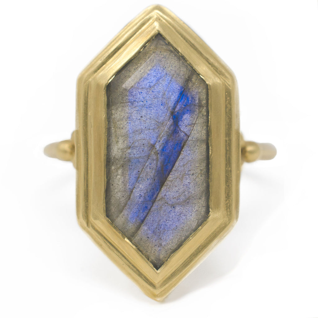Clover Hexagon Labradorite Ring