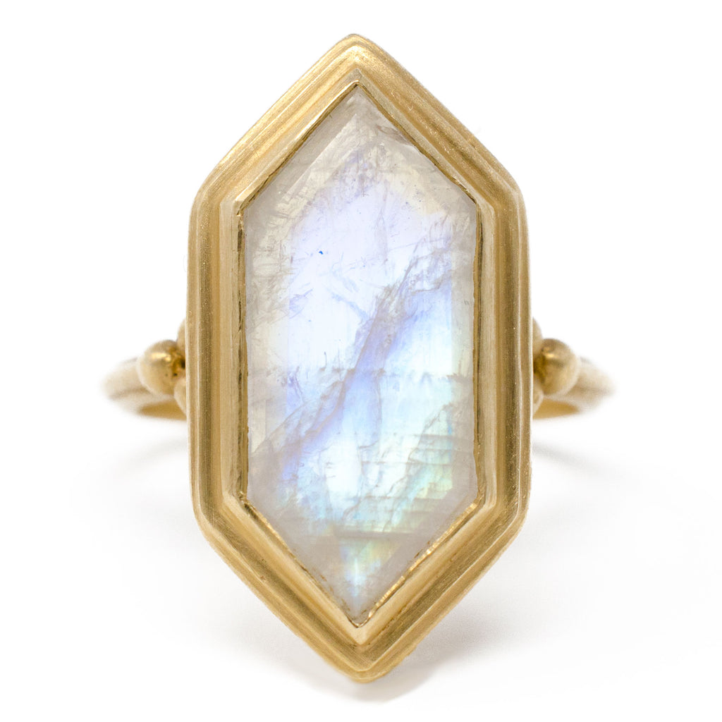 Clover Hexagon Moonstone Ring