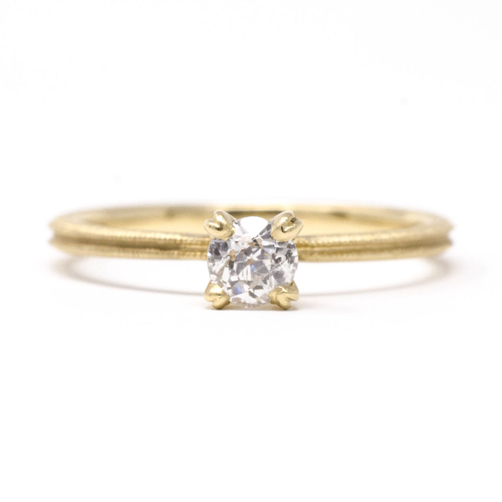 Clover Milgrain Diamond Round Solitaire Ring