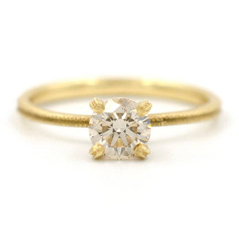 Clover Champagne Diamond Round Solitaire Ring