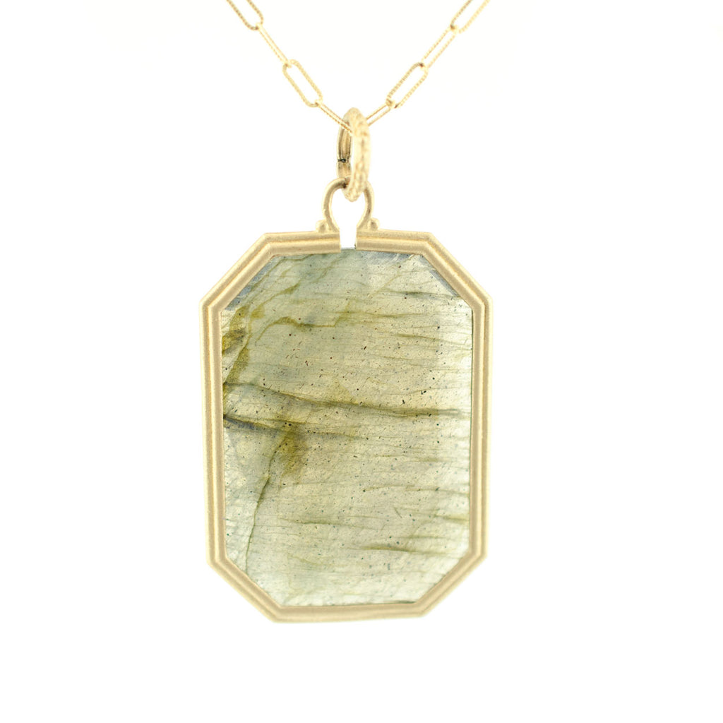 Clover Emerald Cut Labradorite Necklace