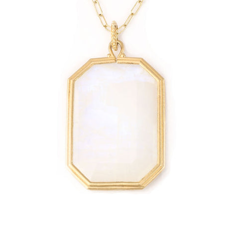 Clover Emerald Cut Moonstone Necklace