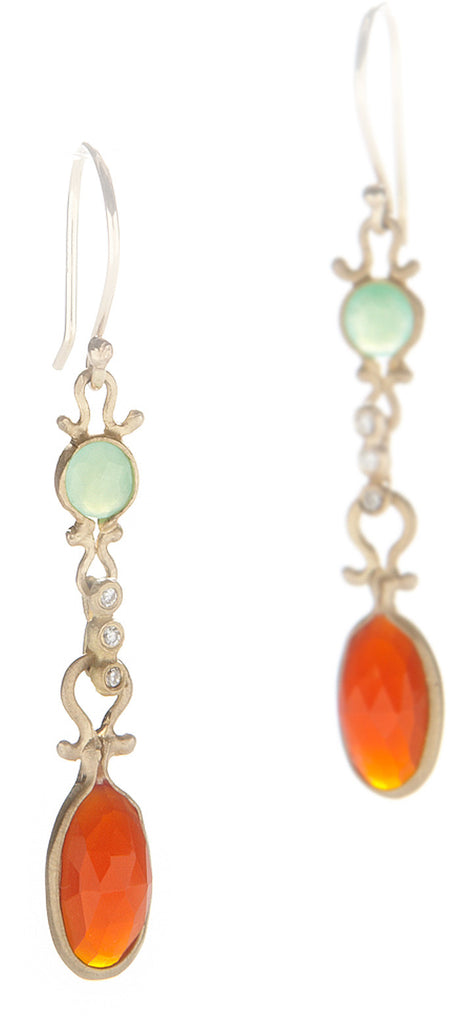 Dewdrop Chrysoprase and Carnelian Drop Earrings