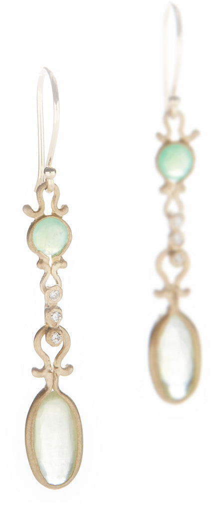 Dewdrop Prehnite and Chrysoprase Drop Earrings