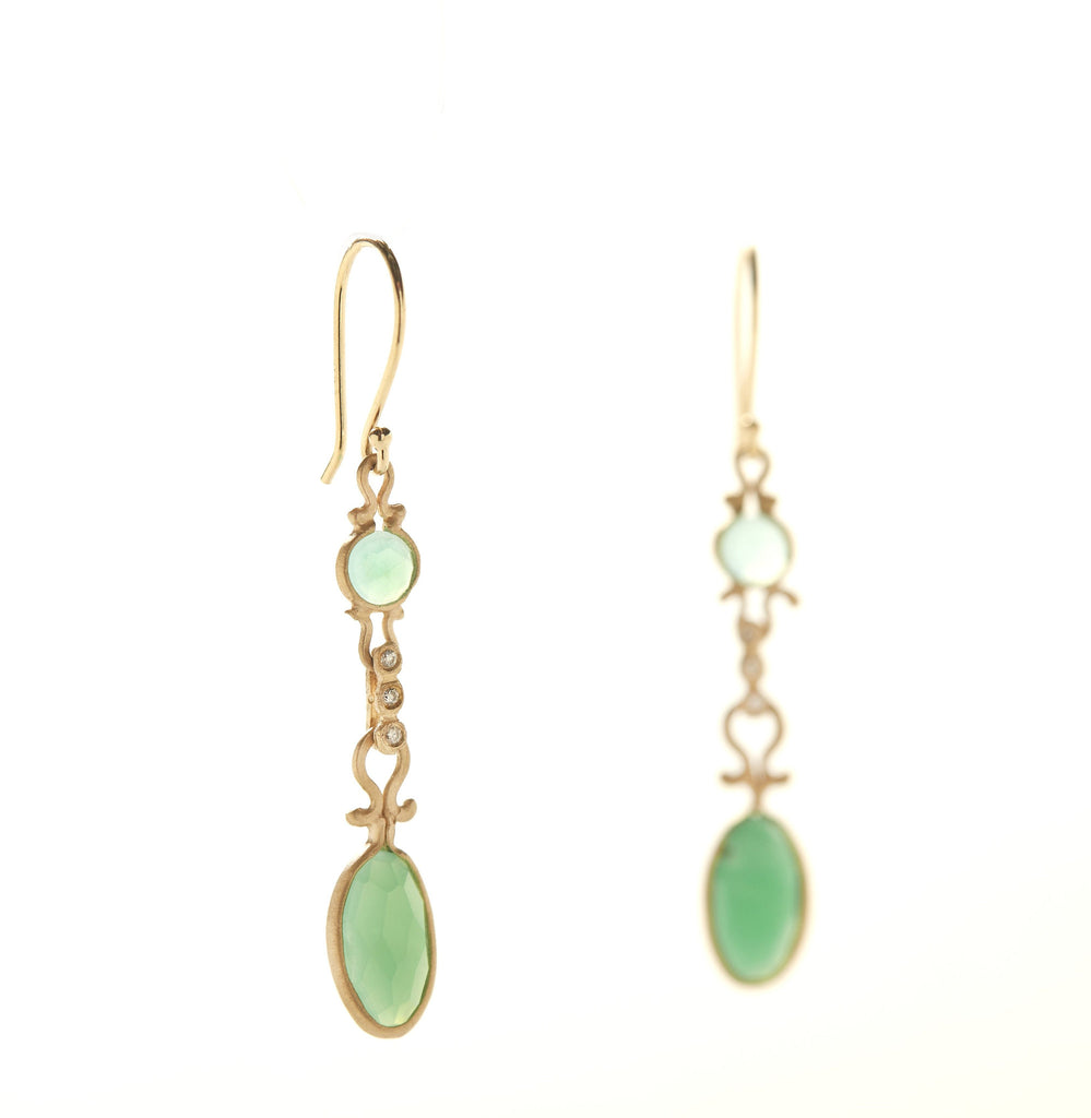 Dewdrop Chrysoprase Drop Earrings