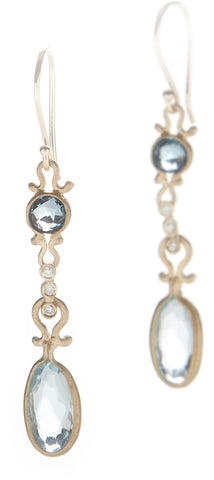 Dewdrop London Blue Topaz and Blue Topaz Drop Earrings