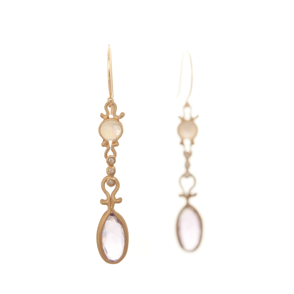 Dewdrop Mother of Pearl and Amethyst Drop Earrings