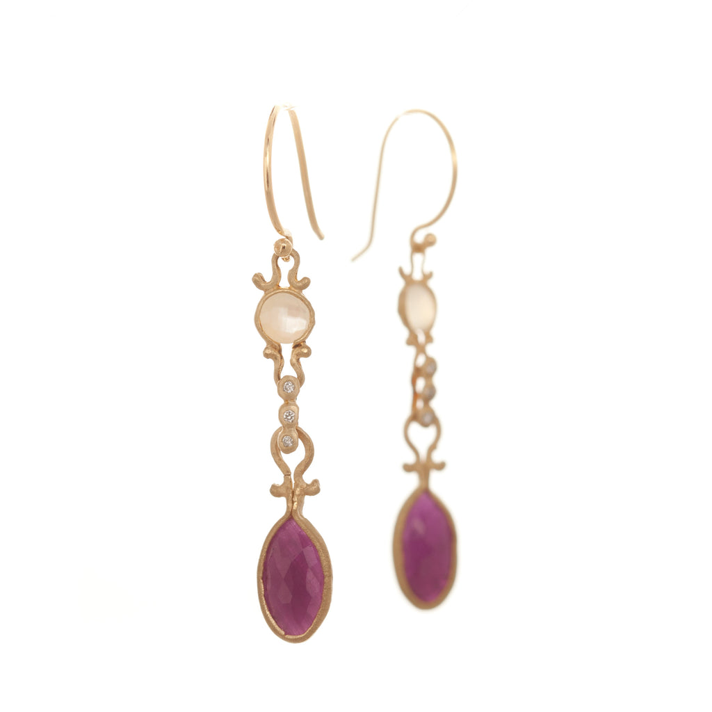 Dewdrop Mother of Pearl and Ruby Drop Earrings