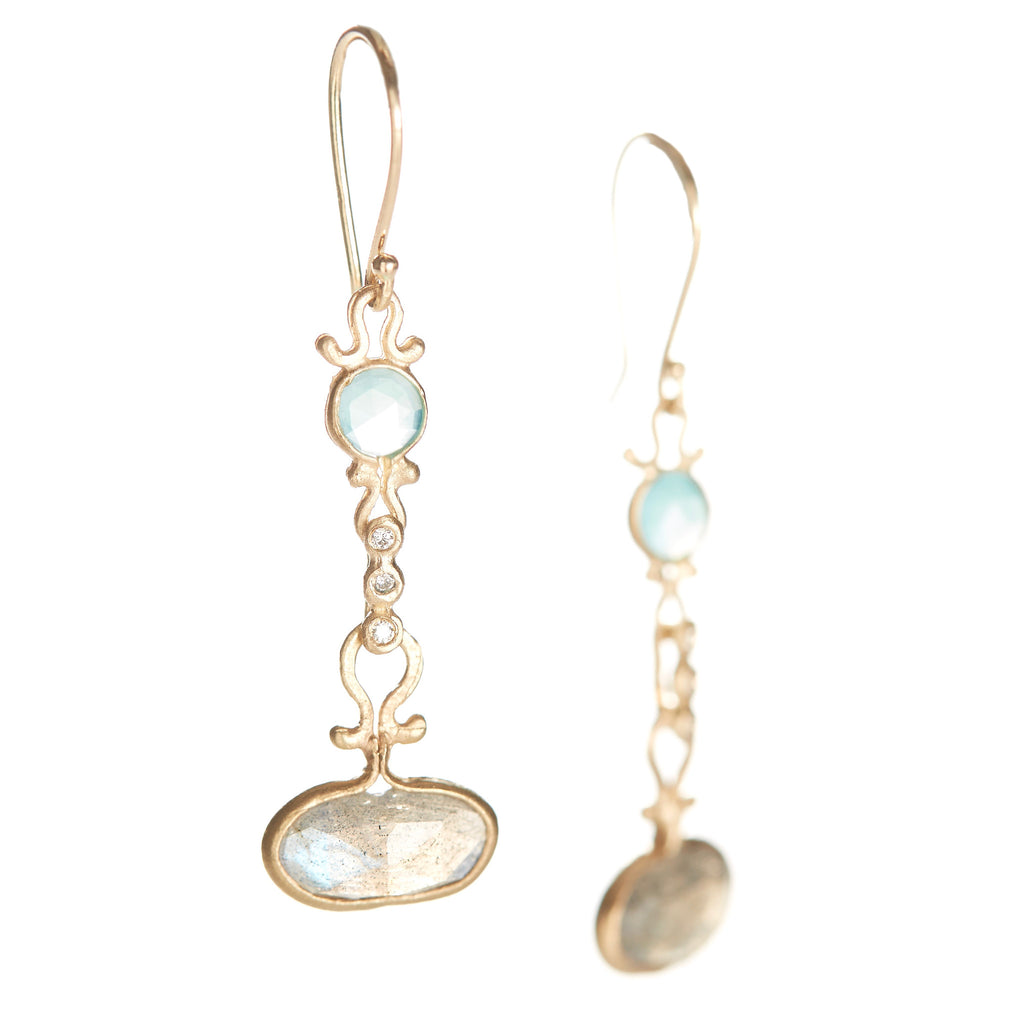 Dewdrop Peruvian Opal and Labradorite Earrings