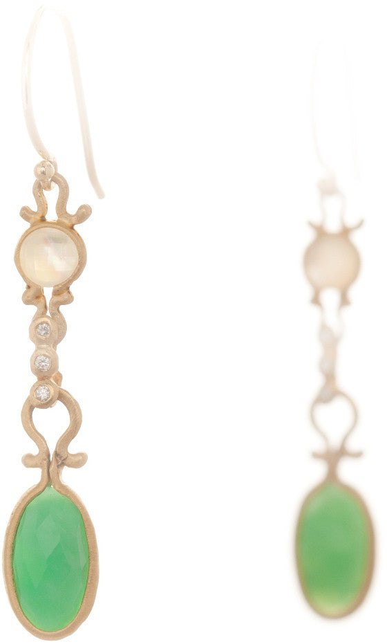 Dewdrop Mother of Pearl and Chrysoprase Drop Earrings