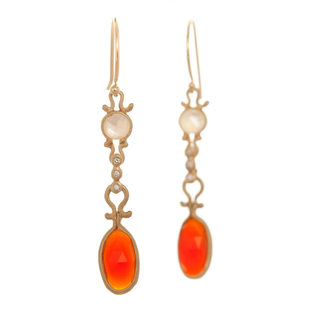 Dewdrop Mother of Pearl and Carnelian Drop Earrings