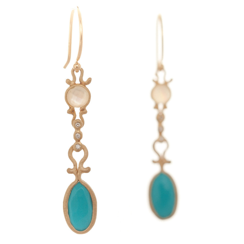 Dewdrop Turquoise and Mother of Pearl Drop Earrings