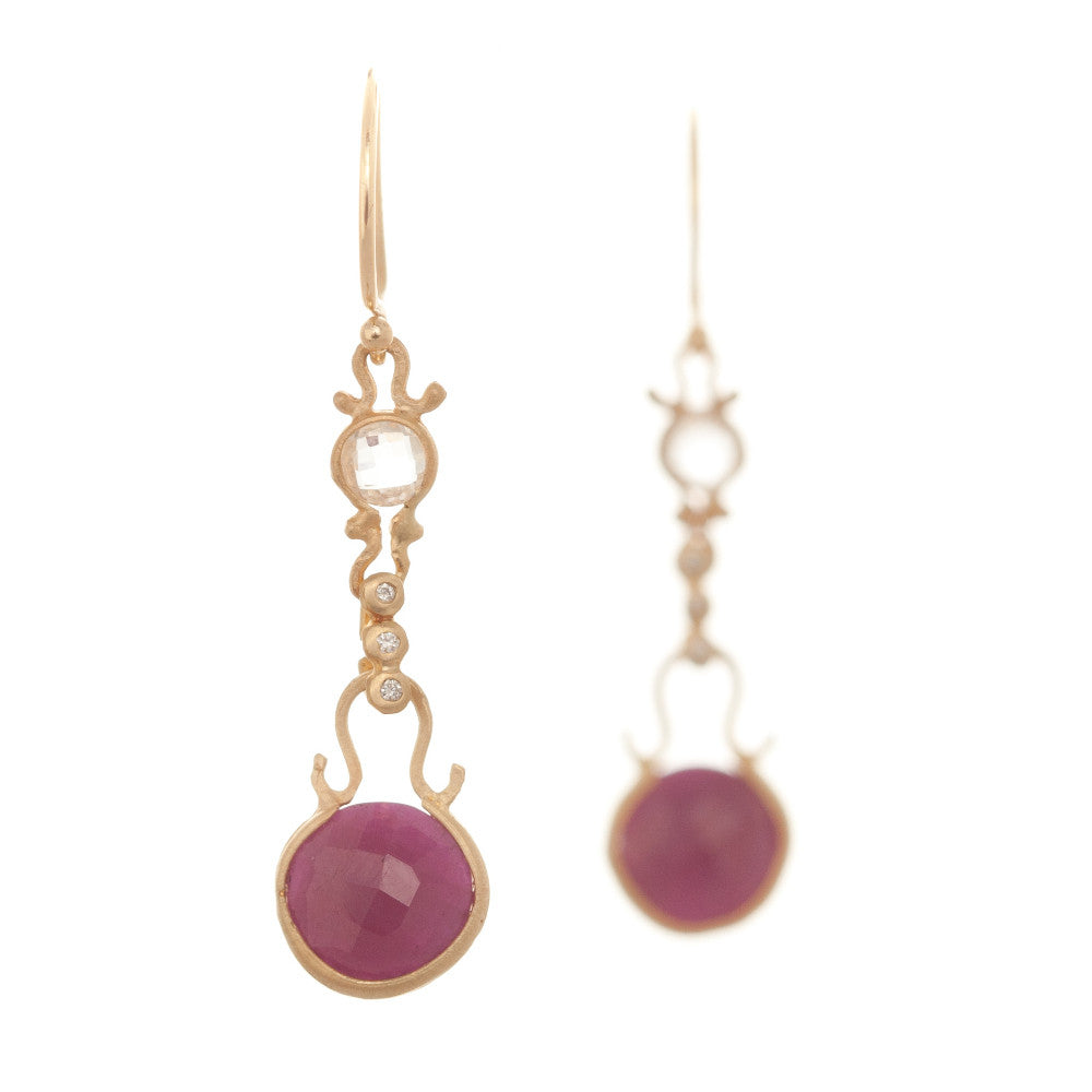 Dewdrop Quartz and Ruby Round Drop Earrings