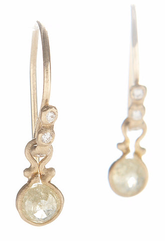 Dewdrop Opaque and White Diamond Earrings