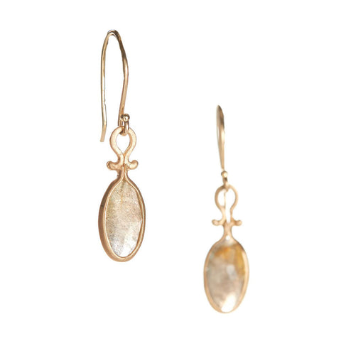 Dewdrop Oval Labradorite Earrings