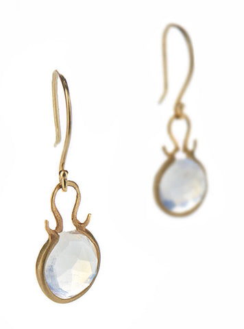 Dewdrop Moonstone Round Earrings
