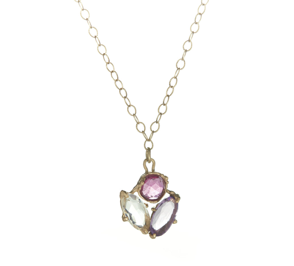 Dewdrop Triple Floral Necklace